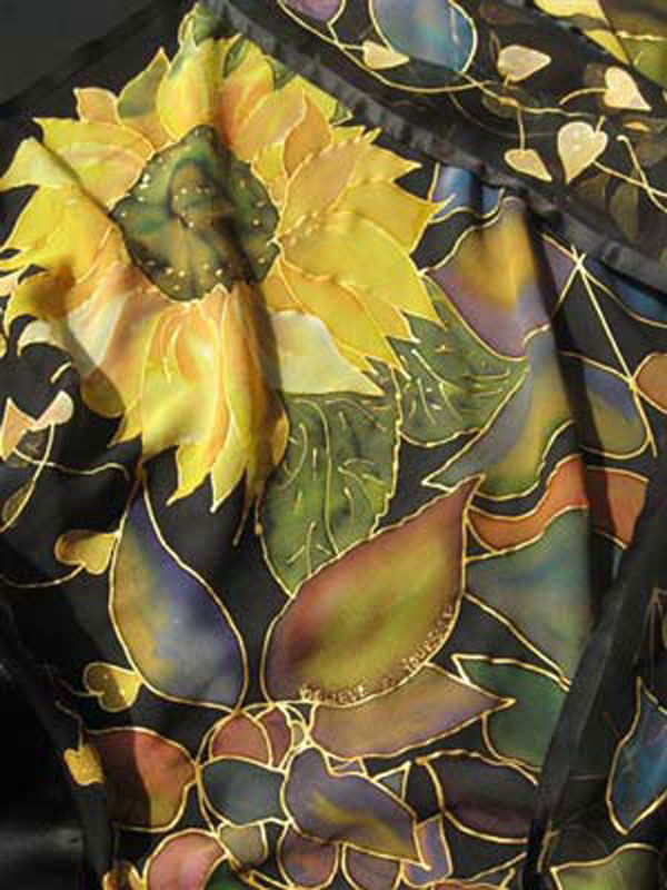 Hand painted on 100% silk chiffon, edged with silk satin, finished with a 3